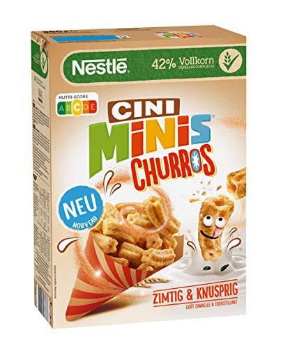 Nestlé Cini Minis Churros Frühstücks-Cerealien mit 42% Vollkorn-Anteil, 1er Pack (1 x 360g)