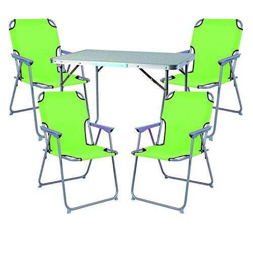 Mojawo Ensemble de Meubles de Camping en Aluminium Camping L70 x B50 x H59 cm 1 x Table de Camping avec poignée + 4 chaises Vert Citron Plastique Oxford