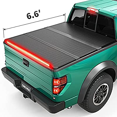 oEdRo Hard Folding Tonneau Cover with Built-in Light Strip, Trifold Hardtop Truck Bed Cover Compatible with 2015-2021 Ford F150,Styleside 6.6 Feet Bed