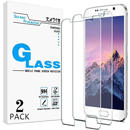 [2-Pack] KATIN For Samsung Galaxy S6 Tempered Glass Screen Protector No-Bubble, 9H Hardness, Easy to Install