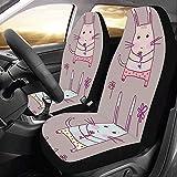 A Parsley Store Fundas de asiento de coche personalizadas Vector de conejo Cara linda Fundas de asiento de coche universal Protector de viaje Funda de asiento de coche de viaje