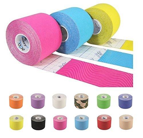 Tapefactory24 5 Rollen ORIGINAL KINESIOLOGIE Tape 5 cm x 5 m | FREIE Farbwahl | 12 Farben zur Auswahl