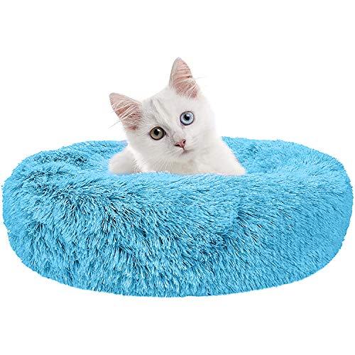 Wuudi Cuccia per animali domestici, cuccia rotonda per gatti, cuscino per cani, divano per cani, ciambella, lavabile, antiscivolo, adatto per cani e gatti 50cm (blu)