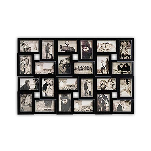 DRULINE Bilderrahmen für 24 Fotos, Fotorahmen, Fotocollage Fotovorhang XXL Bildervorhang RPF20BK Milchig-Photoshop-Optik New Lifestyle Kunststoffrahmen Bildergalerie/Bilderwand | 86 x 57 cm | Schwarz