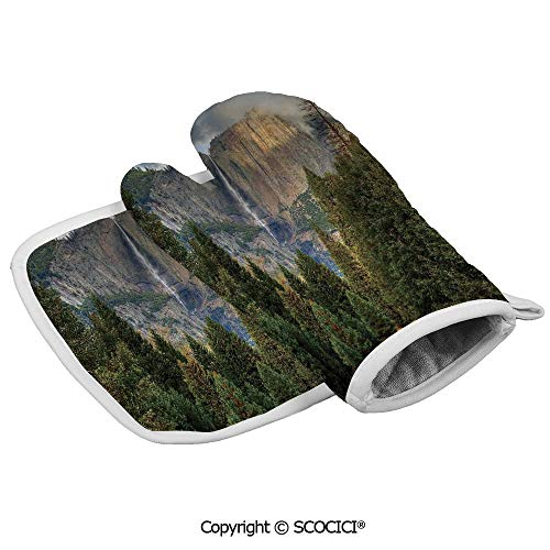 Homenon Oven Mitts,Professional Heat Resistant Yosemite Falls Evergreen Forest Fall Season Scenery Yosemite National Park Non-Slip Kitchen Oven Glove for Cooking,Baking,Barbecue Potholders