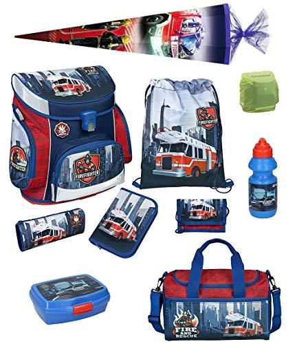 Familando Scooli Schulranzen-Set 10 TLG. Feuerwehr-Auto mit Federmappe, Sporttasche, Schultüte 85cm und Regenschutz Fire-Fighter
