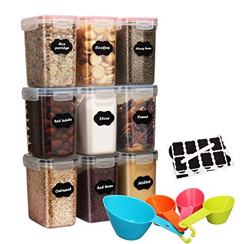 1.6L Juego de Recipientes de Almacenamiento de Cereales- 9 Piezas Sin BPA Tarros Hermeticos para Cereales,Pasta,Harina,Almacenamiento de Galletas,con 1 Marcador de Pizarra,24 Etiquetas y 4 Cucharas