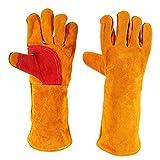 mlloaayo Guantes de cuero para soldar, resistentes al calor y al fuego, guantes para barbacoa, horno, parrilla, chimenea, horno, estufa, soporte para ollas, guantes de manipulación de animales