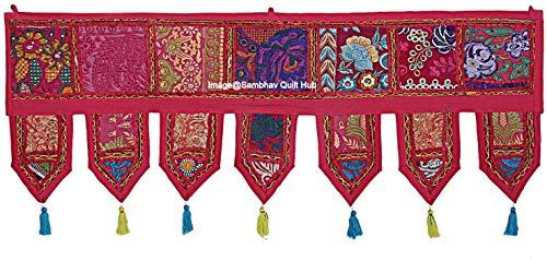 Decoración étnica de algodón para decoración del hogar, estilo vintage, cenefas indias, cenefas bordadas a mano, remiendo toran bohemio, decoración de sala de estar (rojo, 92 x 30 cm)
