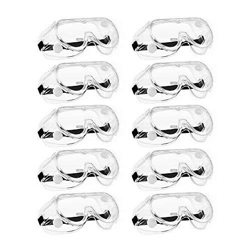 ゴーグル 飛沫対策眼鏡 防花粉 防塵 保護メガネ 透明 軽量 オーバーグラス 曇り止め 保護用アイゴーグル 眼鏡着用可 男女兼用 (10)
