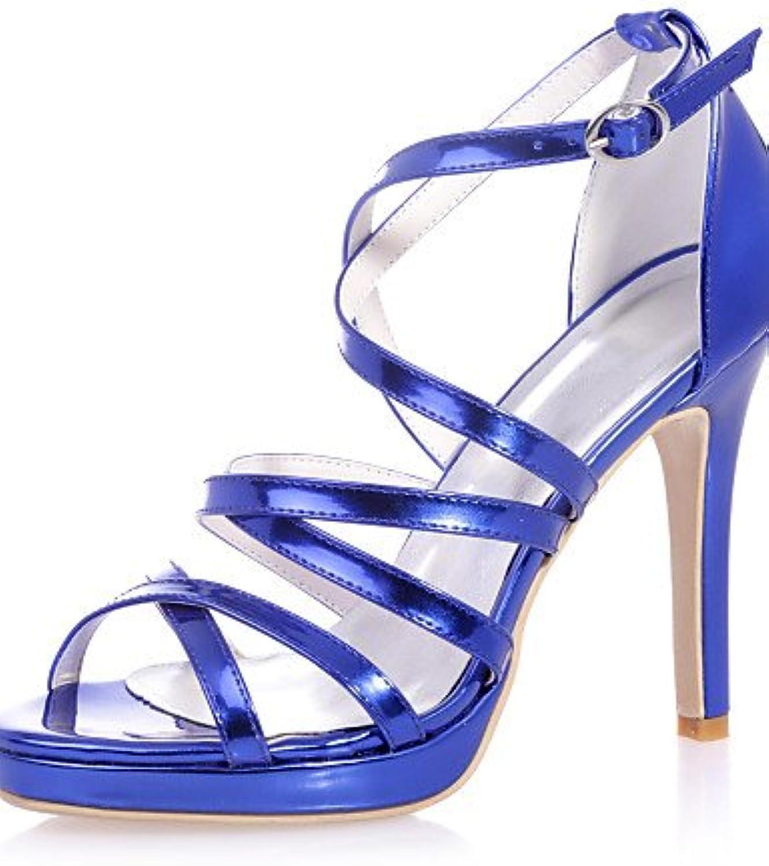 MEIREN MEIREN MEIREN Woherrar skor Patent läder Stiletto Heel Open Toe Sandals bröllop  Party & Evening svart  blå  silver  guld  fabriksförsäljningar