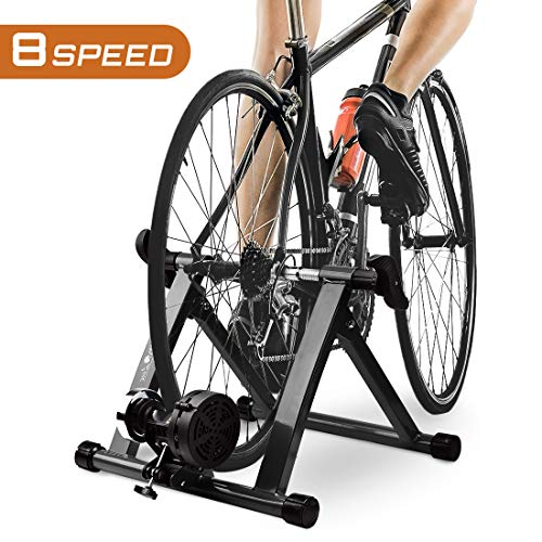 "HEALTH LINE PRODUCT Indoor Bike Trainer, Magnetic 26-28"" Bicycle Exercise Trainer Quiet Noise Reduction Stationary Cycling Stand"