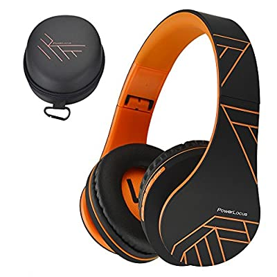 PowerLocus Bluetooth Over-Ear Headphones, Wireless Stereo Foldable Headphones Wireless and Wired Headsets with Built-in Mic, Micro SD/TF, FM for iPhone/Samsung/iPad/PC - Black/Orange from PowerLocus