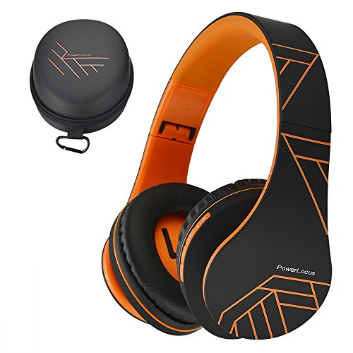 PowerLocus P2 – Auriculares Bluetooth inalambricos de Diadema Cascos Plegables, Casco Bluetooth con Sonido Estéreo Micro SD/TF, FM con micrófono y Audio Cable para Movil, PC, Tablet - Naranja