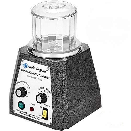VEVOR Mini KT-100 magnetische Tumbler 100 mm, Schmuck Poliermaschine und Finisher Maschine mit guter Zeitfunktion, schneller Verarbeitungsgeschwindigkeit für Leichtmetall, Nichteisenmetalle, 2000 RPM