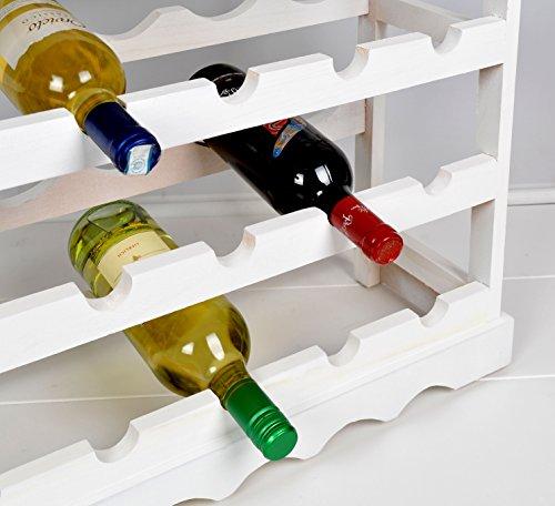 Weinregal Weiß für 24 Flaschen Flaschenregal weißes Holz - 2