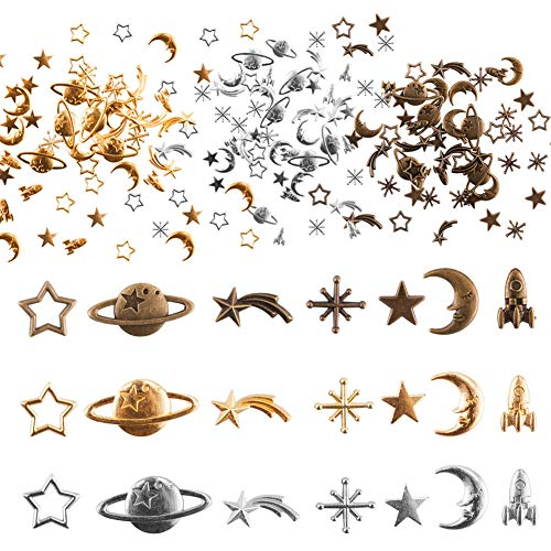 Juanya 105 Pieces Cosmos Themed Charms, Alloy Epoxy Charms Pendants Resin Fillers Moon Star Spaceship Charms for Resin Jewellery Making, Epoxy Resin Accessories Supplies