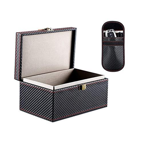 IWILCS Caja de bloqueo de señal RFID, sin llave, caja de almacenamiento grande, antirrobo, para llave de coche sin llave, color negro