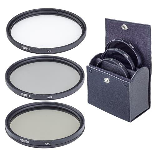 ProOptic 49mm Digital Essentials Filter Kit, with Ultra Violet (UV), Circular Polarizer and Neutral Density 2 (ND2) Filters, with Case
