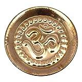 Indianbeautifulart El Cobre en Relieve del símbolo de OM AUM Placa hindú Puja Religiosa Navratra Tika Thali