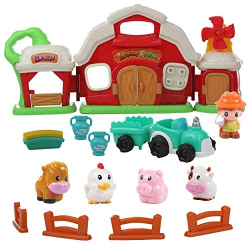 Play 2 Grow Red Barn Farm Animals Playset - 14 Piece Toy Set with Animal Sounds for Kids and Toddlers, Hay Tractor, Farmer