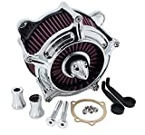 RONGLINGXING Pieces de Sport Motorise Filtre à air moto Turbine Pointe Chrome Filtre Element air pur for Harley Touring Dyna FXR 1993-2017 Softai 1993-2015 (Color : As show)