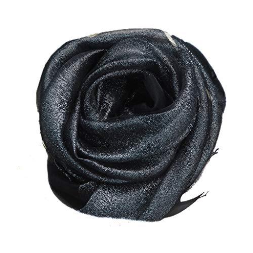 hkwshop Bufandas Chal Bufanda de Seda Moda Chal de Seda versátil 200 x 80 cm Mantilla de protección Solar Multifuncional Moda Bufandas (Color : Black)
