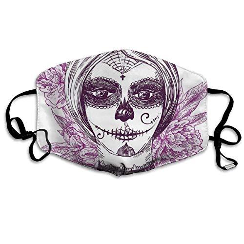 mundschutz Atmungsaktive Gesichtsbedeckung Mundbedeckung Staubdichter gotischer Vampir wie Toter Gesichtsschädel mit Blumen Bild, Gesichtsdekorationen