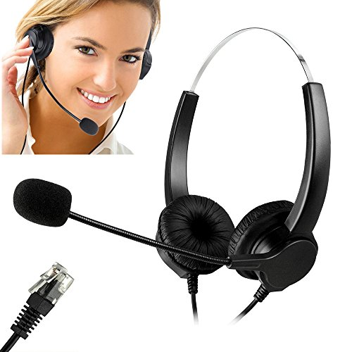 Call Center Headset, Bizoerade Hands-free Call Center Noise Cancelling Corded Binaural Headset Headphone with 4-Pin RJ9 Crystal Head and Mic Mircrophone for Desk Phone Call Center Phone