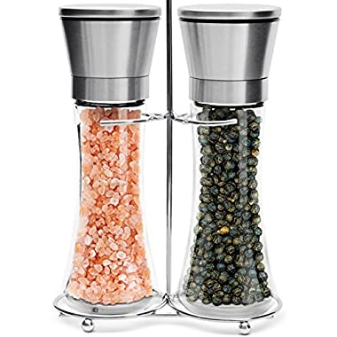 Salt & Pepper Grinder Set – 2 Tall 6 Oz Glass - 180 ml Spice and Sea Salt Shakers with BONUS Stand - Adjustable Coarseness Mills – Easy To Clean - Stainless Steel & Ceramic Rotor - BPA Free