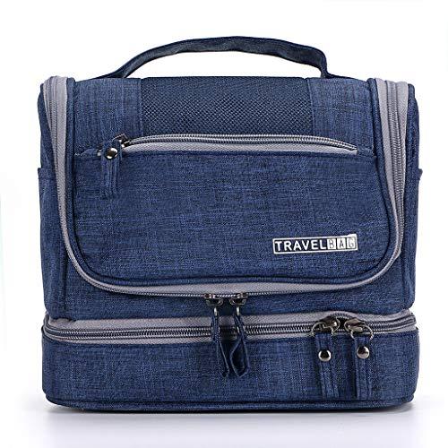IGNPION 2 Layers Men's Toilet Bags Travel Wash Toiletry Bag Hanging Makeup Organiser Cosmetic Bathroom Shaving Bag - Dry & Wet Separation (Drak Blue)