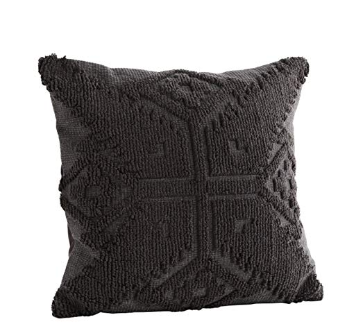 Madam Stoltz Kissenhülle Gemustert Cut-Out Muster in Anthrazit Grau aus Baumwolle, 45x45cm (Anthrazit)