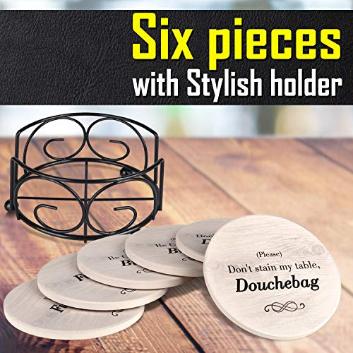 Funny Coasters for Drinks with Holder - Absorbent Drink Coasters Set 6 Pcs - 3 Sayings - Housewarming G   ifts for Friends - Men, Women Birthday - Cool Home Decor - Living Room, Kitchen, Bar Decorations
