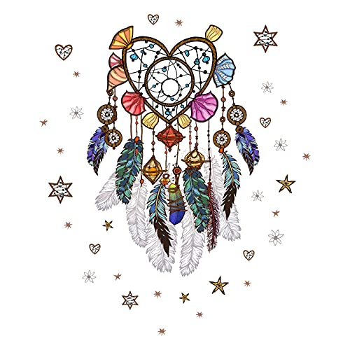 N+A Dream Catcher Feathers Wall Decals , Peel and Stick Removable Wall Stickers Art Murals for Bedroom Kids Room Nursery Living Room Office Home Decoration (Loving Heart Shape), Pink