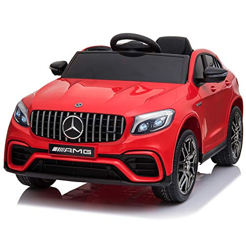 Aosom 12V Ride On Toy Car for Kids with Remote Control, Mercedes Benz AMG GLC63S Coupe, 2 Speed, with Music, Electric Light, Red