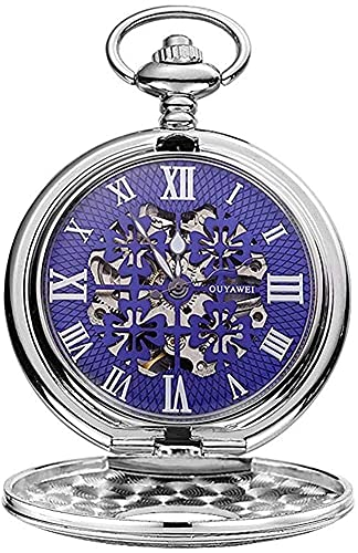Reloj de bolsillo elegante clásico.Reloj de bolsillo-Clásico Vintage Vintage Perspectiva de la perspectiva de la perspectiva de la parte inferior del reloj de bolsillo de la cadena mecánica de los hom