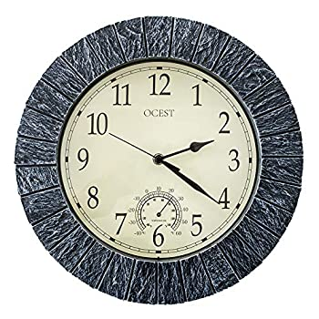 Ocest Large Outdoor Indoor Clock Waterproof Wall Clock with Thermometer Weather-Resistant Non-Ticking Battery Operated Decor Clock for Patio Pool Lanai Fence Porch Garden,Bathroom  13 Inch