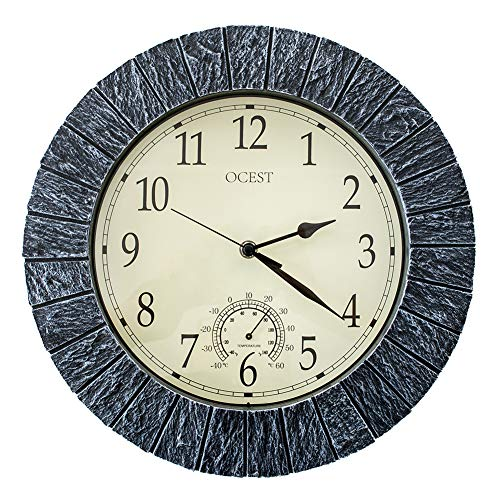 OCEST Garden Clocks Outdoor Waterproof, 13 Inch Large Retro Wall Clock Battery Operated Non Ticking Decorative Clocks with Thermometer for Pool Patio Bathroom