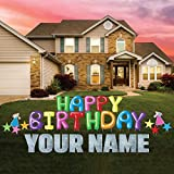 Happy Birthday Balloon Font Letters Yard Card with Custom Name, 21pcs with Stakes Made in USA 12351