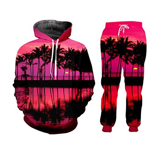 Herren Trainingsanzug 3D Druck Pink Sunset Dusk Unisex Hoodie Streetwear Natural Scenery Casual Hose Gr. XXXXX-Large, Pahs08063