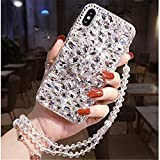 Diamond Case for LG K51-3D Handmade Diamond Kickstand Rhinestone Bling Diamond Glitter Case for LG K51/ LG Q51 (White)