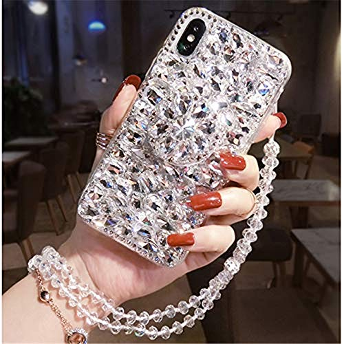 Diamond Kickstand Case for Samsung Galaxy S20 FE,S20 Fan Edition Case,S20 Lite Case,3D Handmade Bling Diamond Glitter Phone Case for Samsung Galaxy S20 FE 5G(White)