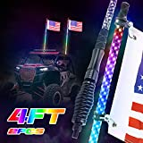 LED Whip Lights, SUPAREE 2PCS 4FT RF Remote Control 360° Spiral LED Whips RGB Chasing/Dancing Light Antenna Lighted Whips for UTV ATV Polaris Off Road Truck RZR Buggy Dune 4X4