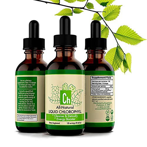 Liquid chlorophyll drops for water 3pcs 59ml, All Natural Chlorofresh organic nourishment drink for skin