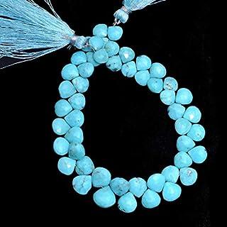Brioletas de turquesa, Briolette de corazón de piedras preciosas de 6 mm a 9 mm | Cuentas de piedras preciosas semiprecios...