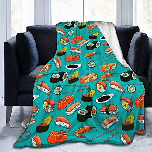 Elegant Throw Blanket All Season Travel Throw Blanket for Office, Camping, Chair, School, Travel Fashion Seafood Sushi Prawn Wasabi Japanese Throw Blanket