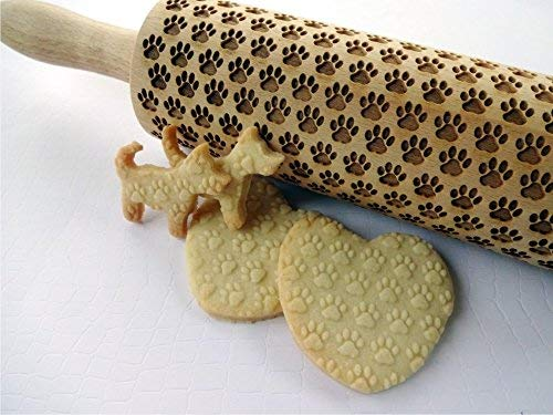 PAW PATTERN EMBOSSING ROLLING PIN DOGIE PAW PATTERN LAZER ENGRAVED with...
