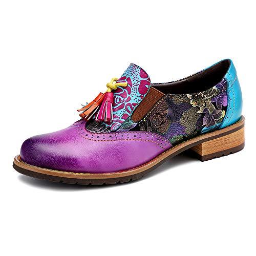 XLH Retro-Lederschuhe, Frauen Stiefel Handgefertigte Schuhe Lace-Up Blockabsatz Booties im Freien zu Fuß anzeigen Lässige Nicht weiche Lady Schuhe,Eu42