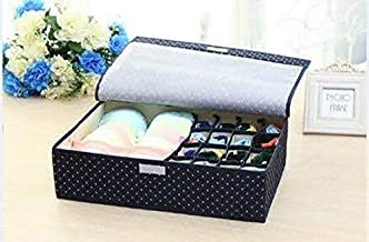 House of Quirk Innerwear Organizer 15+1 Compartment Non-Smell Non Woven Foldable Fabric Storage Box for Closet - Navy Blue(Polka)