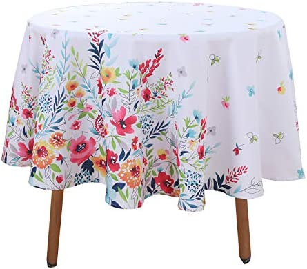 LUSHVIDA Easter Fabric Round Table Cloth Polyester Easter Flower Spring Tablecloth Table Cover product image